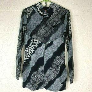 ANAC Blouse M Mock Neck Cowl Black Print Gray